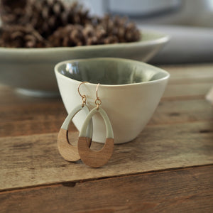Grey Teardrop Wood Earrings by Nancy Wallis Designs