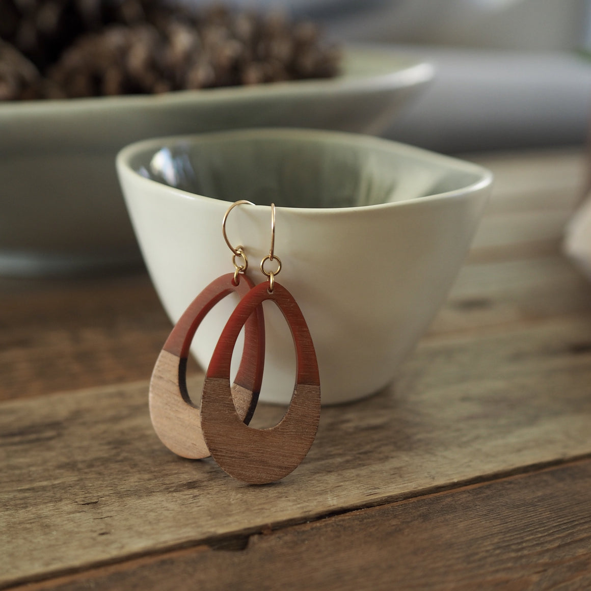 Russet Resin and Wood Earrings by Nancy Wallis Designs