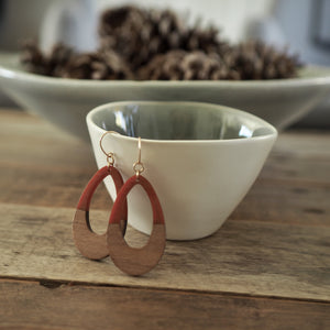 wood earrings for autumn by Nancy Wallis Designs
