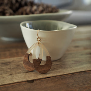 Wood and Resin Teardrop earrings by Nancy Wallis Designs