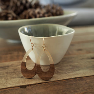 Large Teardrop earrings resin and wooden by Wallis Designs