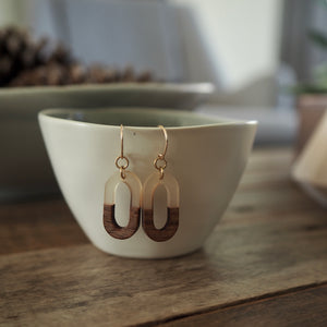 Oval wood earrings for the minimalist by Nancy Wallis designs