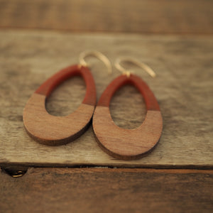 Teardrop earrings in Rust brown and wood by Wallis Designs