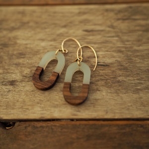 Resin and wood earrings for fall by Nancy Wallis Designs