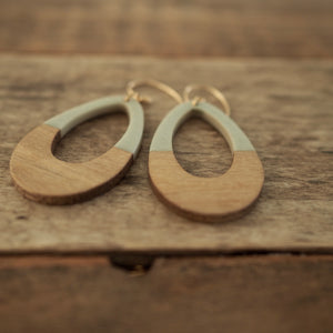 Grey and Wood Teardrop Earrings