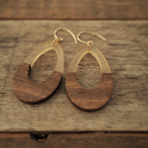 Large Wood Earrings 90s style by Nancy Wallis Designs