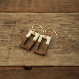 Rectangular wood and resin earrings for fall by Wallis Designs