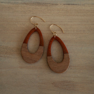 Large Teardrop earrings in rust and wood by Wallis Designs