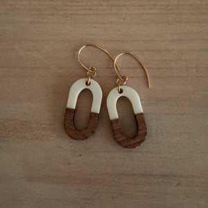 White and Wood Oval Earrings by Nancy Wallis Designs