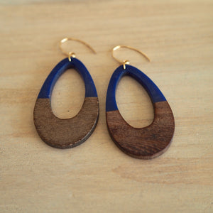 Navy and wood earrings by Nancy Wallis Designs in Canada