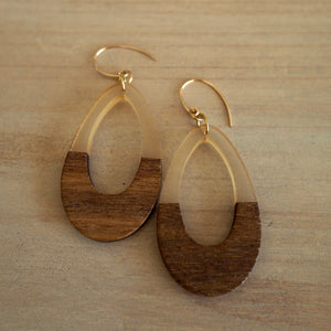 Large Teardrop Earrings with Wood and Resin by Wallis Designs