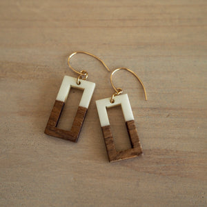 Rectangle earrings with wood and resin by Wallis Designs