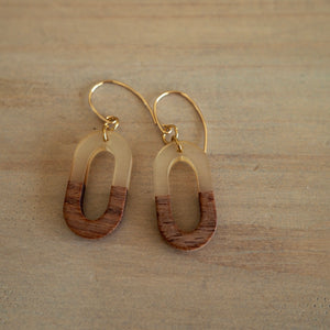 Geometric oval earrings in wood and resin by Wallis Designs