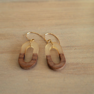 Wood and resin oval geometric earrings by Wallis Designs