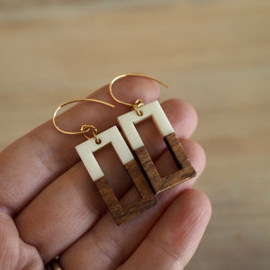 Wood and Resin Rectangle earrings by Nancy Wallis