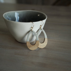 Grey Resin and Wood earrings made in Canada by Wallis Designs