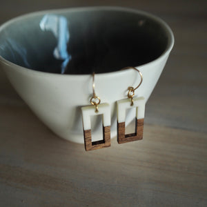 Geometric wood earrings by Nancy Wallis Designs