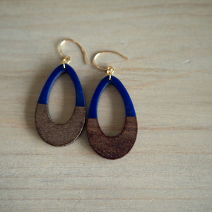 Wood and resin earrings with Navy Blue by Nancy Wallis Designs
