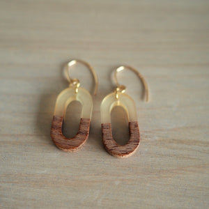 Geometric earrings minimalist wood by Nancy Wallis Designs