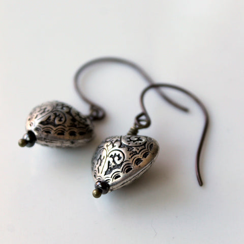 Silver Heart Earrings by Nancy Wallis Designs