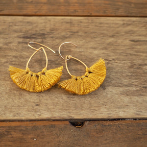Mustard Gold Tassel Fan Earrings by Wallis Designs