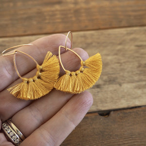 Gold Tassel Earrings for fall made in Canada by Wallis Designs