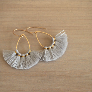 Light Grey Tassel Teardrop Earrings
