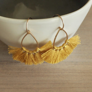 Mustard Gold Tassel Earrings by Wallis Designs in Canada