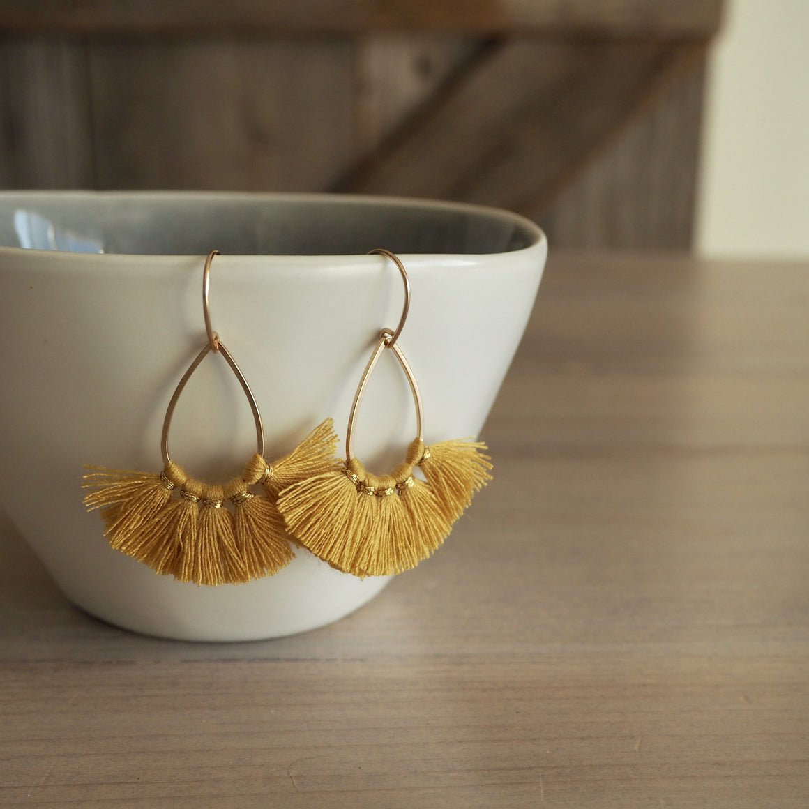 Mustard Yellow Tassel Earrings with 14K gold filled earwire