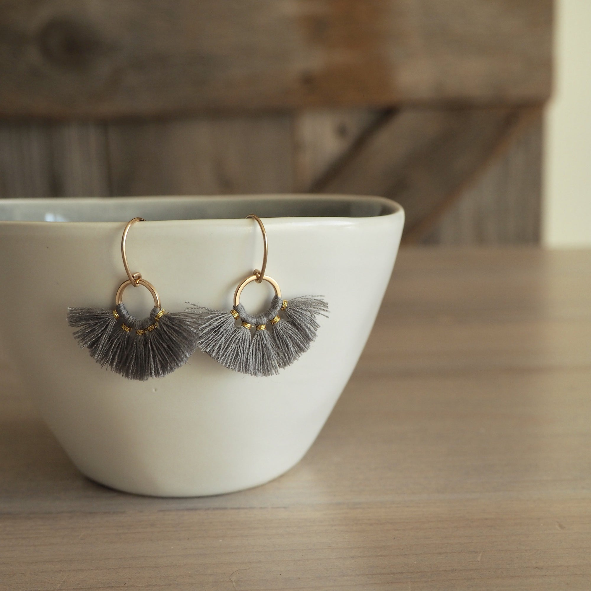 Grey tassel earrings with 14K gold filled earwire in Canada