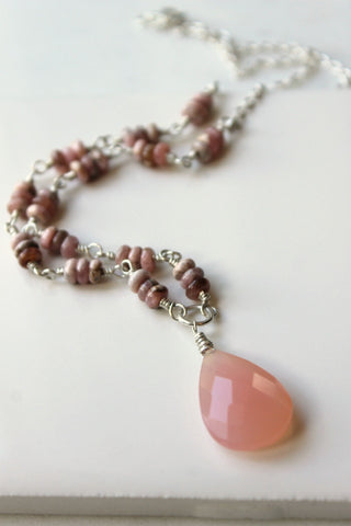 Unique handmade gemstone necklace in pink by Wallis Designs