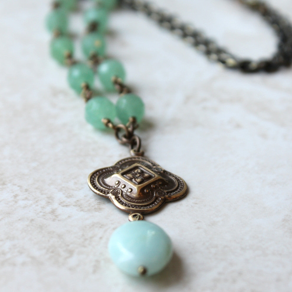 round chic deco style vintage circle nouveau necklace bronze ring chrysocolla green stone art jewelry with pendant media boho