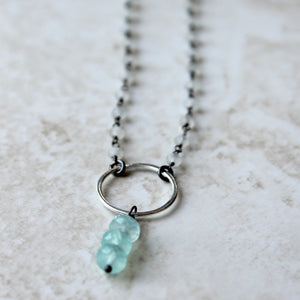 Gemstone Necklace with chalcedony and rainbow moonstone