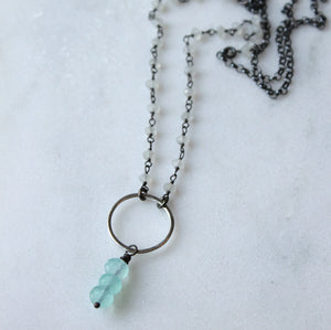 Chalcedony and Moonstone Necklace handmade in Canada