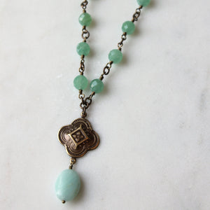Beaded aventurine stone necklace in green