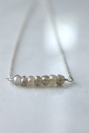 Grey chalcedony gemstone necklace sterling silver