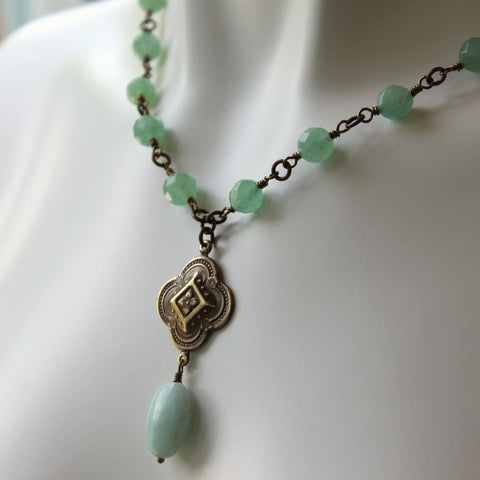 Boho Chic Green Stone Necklace by Wallis Designs
