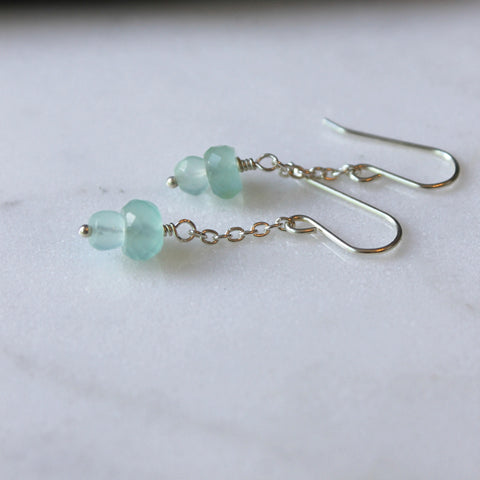 Sterling Silver Earrings with Aqua Chalcedony Gemstones