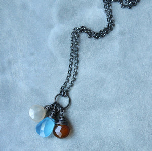 Earthy Oxidized Silver Long Necklace and Gemstones