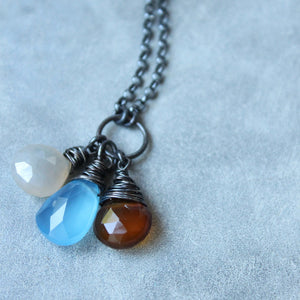 Blue Brown Grey Chalcedony Long Necklace