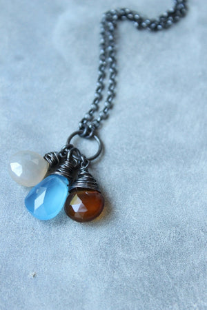 Wire Wrapped Gemstones Earthy Autumn Necklace