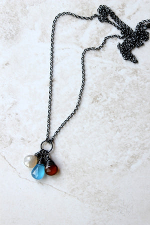 Long Oxidized Silver Necklace and Gemstones