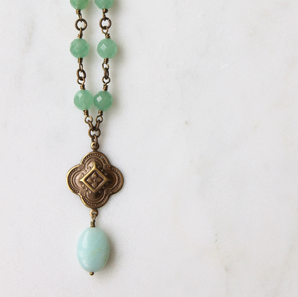 Aventurine Beaded Brass Necklace by Wallis Designs