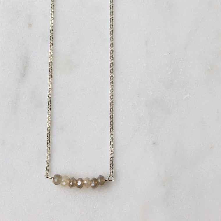 Grey Gemstone Bar Necklace