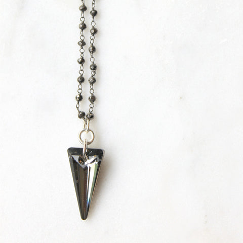 Silver Night Crystal Spike Necklace