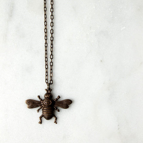 Bumble Bee Brass Necklace