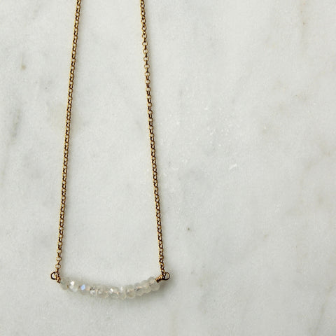 Moonstone Bar 14K Gold Filled Necklace