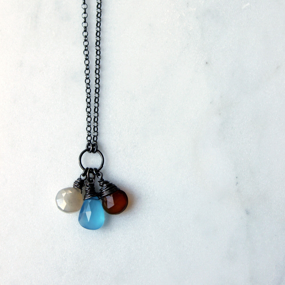 Autumn Blue and Brown Gemstone Necklace