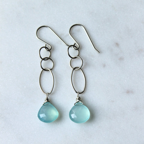 Breeze Aqua Silver Drop Earrings