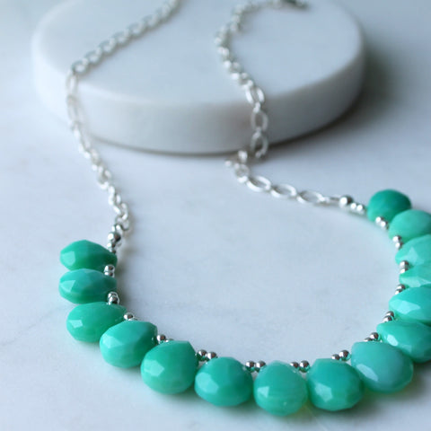 Bib style gemstone necklace with green chrysoprase